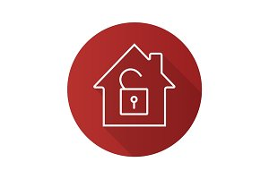 Unlocked house flat linear long shadow icon