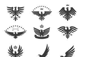 Eagle heraldic icons black set