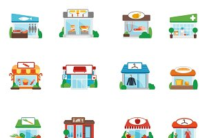 Store and restaurants flat icons set