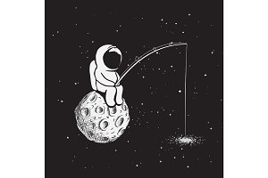 Astronaut with a fishing rod