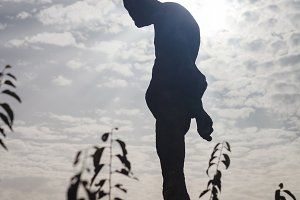 Silhouette of stone statue