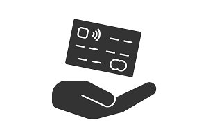 Open hand with credit card glyph icon