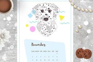 Calendar 2018. Dogs