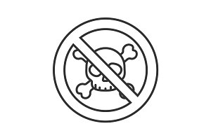 Forbidden sign with skull and crossbones linear icon