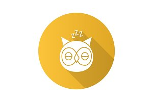 Sleeping owl flat design long shadow glyph icon