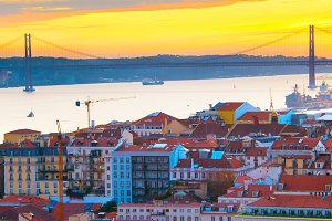 Lisbon Old Town at sunset