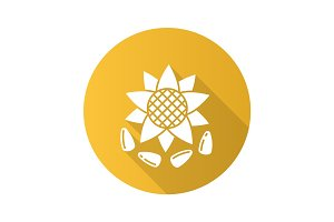 Sunflower seeds flat design long shadow glyph icon