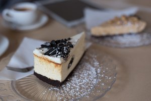 Close up of cake slice in plate