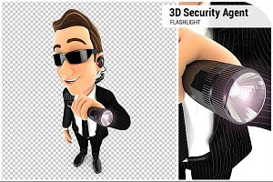3D Security Agent Holding Flashlight