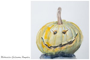 Watercolor halloween pumpkin
