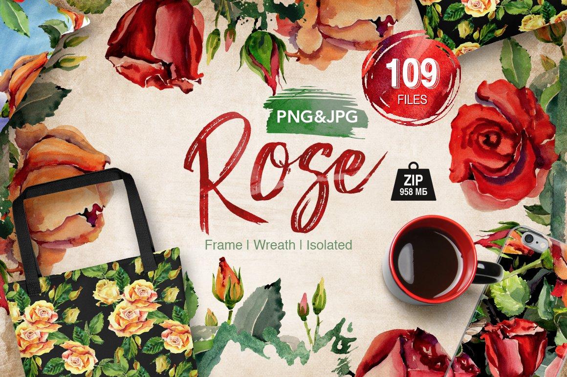 Roses flowers PNG watercolor set ~ Illustrations ~ Creative Market