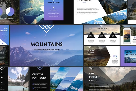 Mountains powerpoint template presentation templates creative mountains powerpoint template presentation templates creative market toneelgroepblik Image collections