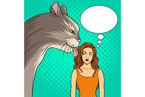 Cat licks girl pop art vector illustration