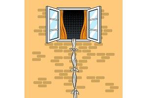 Escape from window pop art vector illustration