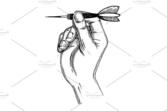 Hand with dart engraving vector illustration