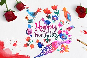 Digital birthday printable Vector