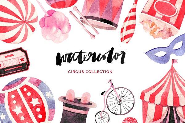 Watercolor circus collection