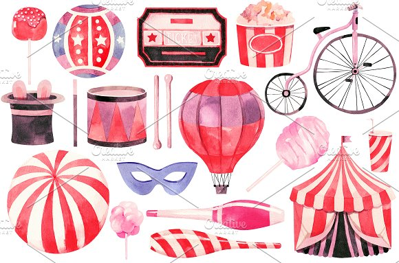 Watercolor circus collection in Illustrations - product preview 1