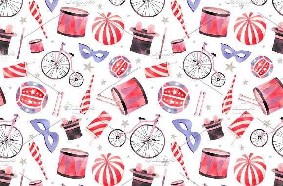 Watercolor circus collection in Illustrations - product preview 2