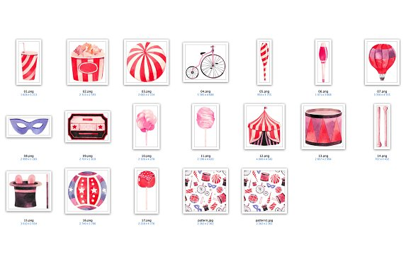 Watercolor circus collection in Illustrations - product preview 3