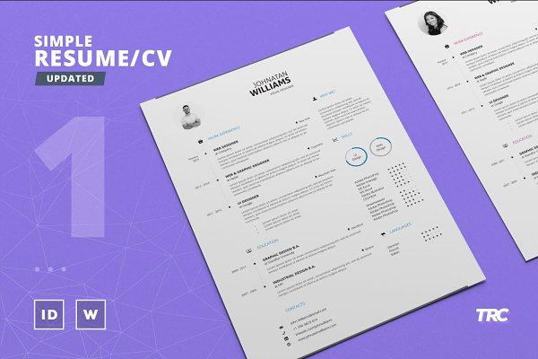 Simple Resume/Cv Template Volume 1