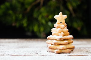 small Christmas tree of a gingerbread biscuit, selective focus
