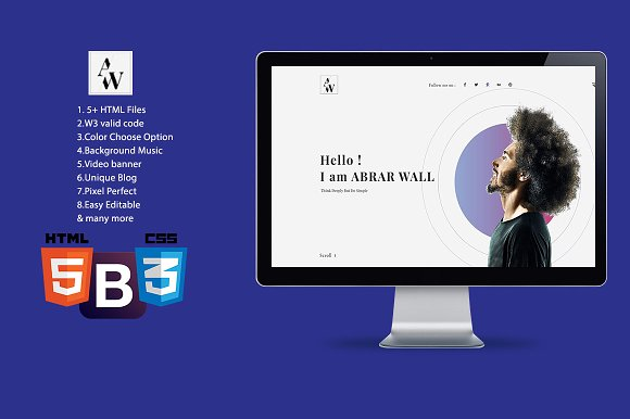 abrar wall resume html template templates - Resume Html Template
