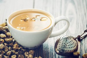 Healthy chamomile tea cup.