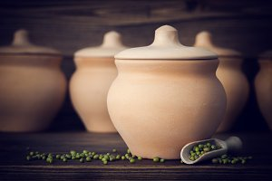 Clay pots for cooking.