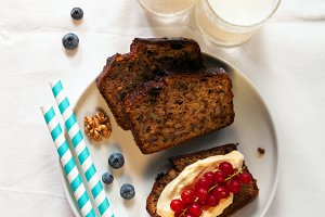 banana bread  and milk