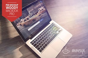 MacBook PSD Mockup Woody