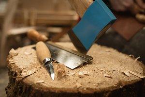 Close-up of worktool on stump