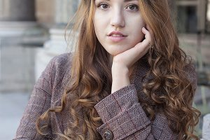Beautiful young girl with long curly hai
