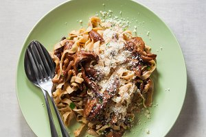 tagliatelle with mushrooms porcini