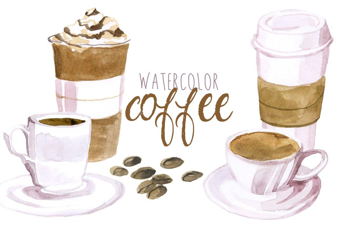 Watercolor coffee illustrations creative market for Coffee watercolor