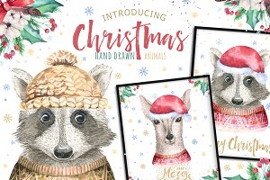 Christmas deer and raccoon animals