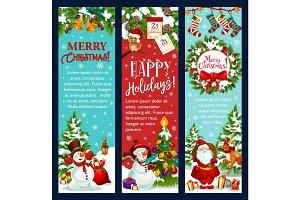 Christmas banner for winter holidays greeting card