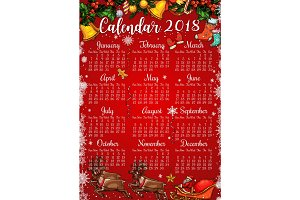 Christmas and New Year holidays calendar template