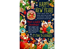 Christmas New Year vector Santa gift greeting card