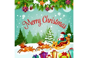 Merry Christmas, Santa gift vector greeting card