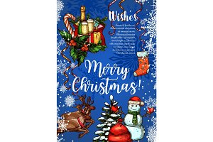Merry Christmas vector sketch greeting card