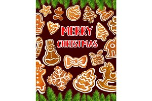 Christmas cookie greeting card with Xmas tree