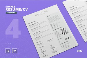 Simple Resume/Cv Template Volume 4