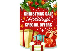 Christmas gift sale poster for winter holidays