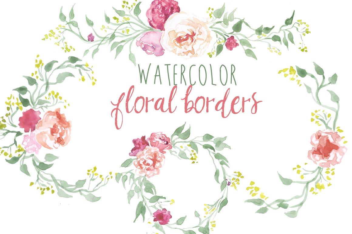 Watercolor Floral Borders Illustrations Creative Market