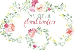 Watercolor Floral Borders