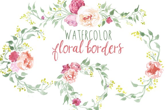 Watercolor Floral Borders Illustrations Creative Market