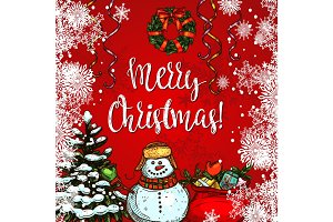 Christmas tree, snowman and gift greeting card