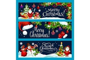 Merry Christmas Santa gift tree vector wish banner