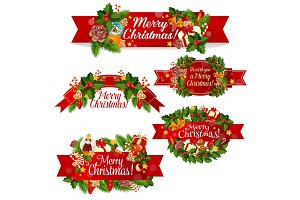 Christmas wreath ribbon banner for winter holidays